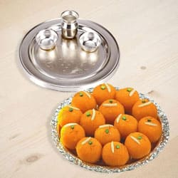 Silver Plated Thali with Motichur Laddu from Haldiram to Baramula