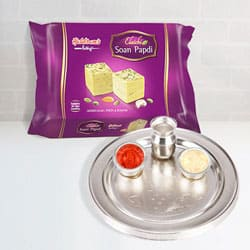Silver Plated Thali with Soan Papdi from Haldiram to Baroda