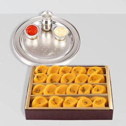 Silver Plated Thali with Kesaria Pedas from Haldiram to Bangalore