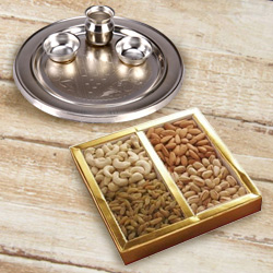 Silver Plated Puja Thali with Assorted Dry Fruits to Agra