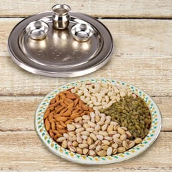 Silver Plated Thali with Assorted Dry Fruits to Ancharakandy