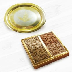 Golden Plated Thali with Assorted Dry Fruits to Allahabad