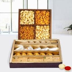 Assorted Dry Fruits with Assorted Sweets with free Roli Tilak and Chawal. to Bhavnagar