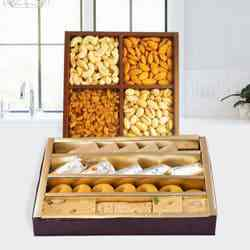 Assorted Dry Fruits with Assorted Sweets to Baroda