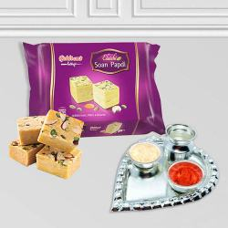 Silver Plated Paan Shaped Puja Aarti Thali (weight 52 gms) with Soan Papdi from Haldiram to Aurangabad