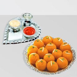 Silver Plated Paan Shaped Puja Aarti Thali (weight 52 gms) with Motichur Laddu from Haldiram to Pollachi