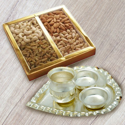 Silver Plated Paan Shaped Puja Aarti Thali (weight 52 gms) with Assorted Dry Fruits to Agra