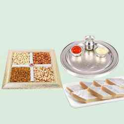 Special Silver Plated Puja Thali with Assorted Dry fruits with Haldiram Kaju Katli to Ancharakandy