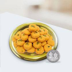 Haldirams Ladoo N Gold Plated Thali , Free Coin  to Chandigarh