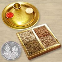 Dri Fruits N Gold Plated Thali , Free Coin  to Hyderabad