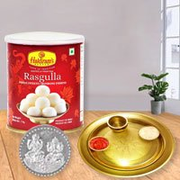 Rosgulla N Gold Plated Thali , Free Coin  to Gurgaon