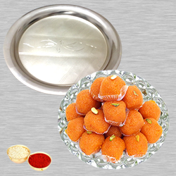Haldiram Ladoo N Silver Thali with Roli Tilak and Chawal to Bangalore
