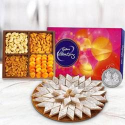 Haldiram Kaju Katli with Dry Fruits and Chocolate Combo with free silver plated coin for Diwali  to Hyderabad