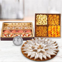 Dry Fruits with Assorted Sweets with free silver plated coin for Diwali  to Belgaum