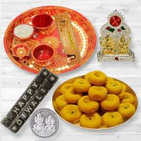 Pooja Samagri Hamper with Peda and Chocolate with free silver plated coin for Diwali.  to Chandigarh