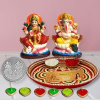 Laxmi Pooja Complete Hamper with free silver plated coin for Diwali  to Gurgaon