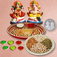 Laxmi Pooja Complete Hamper with Dry Fruits with free silver plated coin for Diwali  to Varanasi