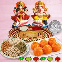 Laxmi Pooja Complete Hamper with Dry Fruits and Ladoo for Diwali  to Bharuch