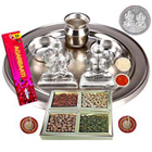 Silver Laxmi Puja Hamper with Dry Fruits to Baga