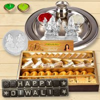 Silver Laxmi Puja Hamper with Assorted Sweets and Chocolate for Diwali  to Belgaum