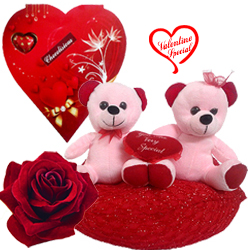 Beautiful Combo of Red and Pink Teddy Bears with C... to Bardez