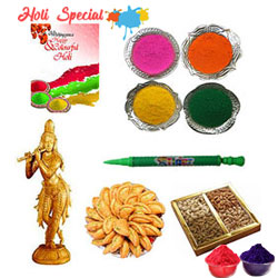 Astonishing Lord Krishna Playing Holi Gift Hamper to Allahabad