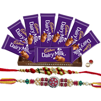 Smile Sensation with Cadbury Dairy Milk Chocolates Collection with 2 Designer Rakhi and Roli Tilak Chawal to Bangalore