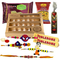 Haldirams Happiness Pack with 1 Set Bhaiya Bhabi Rakhi, 2 Kids Rakhi and Roli Tilak Chawal to India