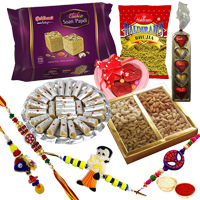 Jolly-to-Gobble Gathering from Haldiram with Family Rakhi Set (1 Pair + 2 Kids) and Roli Tilak Chawal to Cochin