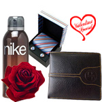 Stylish Set of Gents Accessories with 1 Golden Rose to New Delhi