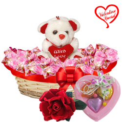Extravagant Chocolates and Teddy Bear with 1 Velve... to Hyderabad