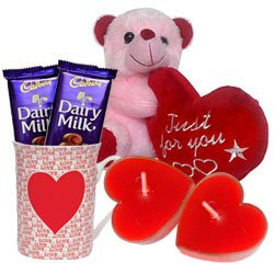 Valentine�s Day Combo of Teddy with Heart, Cadbury... to Chirala