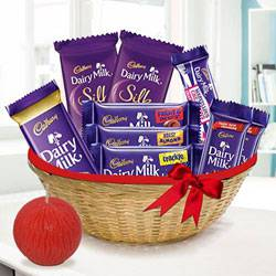 Premium Dairy Milk Basket and Tea Light Diwali Gift Set to Jabalpur