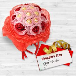 Fabulous Choice of Shoppers Stop Gift Voucher worth Rs.1000, Red Roses N 8 Pc. Original Ferrero Rochers Bouquet to Bakhtiarpur