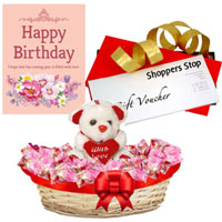 Mesmerizing Shoppers Stop Gift Coupon worth Rs.1000, Lovely Teddy, Corazon Chocolate Basket and Card Gift Set to Gurgaon