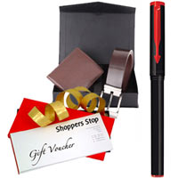 Mind Blowing Combo of Shoppers Stop Gift Voucher worth Rs.1000, Parkar Beta Pen and Box of Wallet N Belt to Bairgania