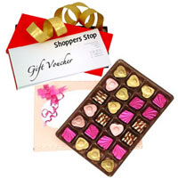 Exquisite Collection of Shoppers Stop Gift Voucher Worth Rs.1000 and 24 Pcs. Home made Assorted Chocolate to Gurgaon