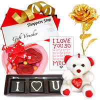 Classic Gift Hamper of Shoppers Stop Gift Voucher  N  Love Chocolates  N  Accessories to Aquem