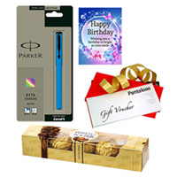 All Time Combo of Ferrero Rocher, Birthday Card, Parker Pen with Pantaloons Gift Voucher to Nagpur