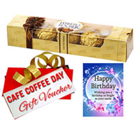 Lovely Present of Ferrero Rocher, Birthday Card and CCD Gift Voucher to Varanasi