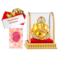 Admirable Selection of Vighnesh Idol, Anniversary Card and Mainland China Gift Voucher to Gurgaon