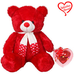 Huggable Red Teddy with Heart Shape Chocolates for... to Hyderabad