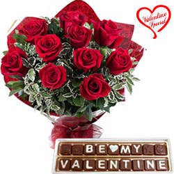 Exceptional Red Roses Bouquet with Be My Valentine... to Chirala