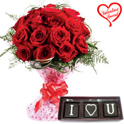 Exquisite Red Roses Bunch with I Love You Handmade... to Aligarh