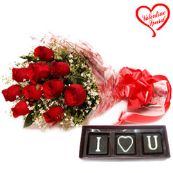 Treasured Red Roses Bouquet N Handmade Chocolates ... to Aligarh