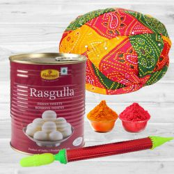 Traditional Holi Selection of Rajasthani Cap with Haldiram Rasgulla, Pichkari N Free Gulal to Baharampur