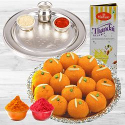 Delicious Ladoo, Thandai N Pooja Thali Holi Gift Package to Baharampur