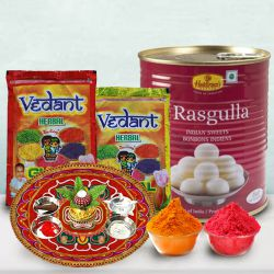 Special Holi Treat of Haldiram Rasgulla, Puja Thali N Herbal Gulal to Ahmedabad