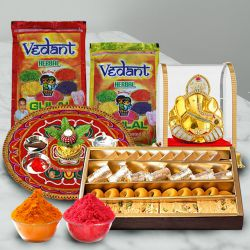 Holi Herbal Gulal Fun with Assorted Sweets, Puja Thali N Ganesh Mandap to Baharampur