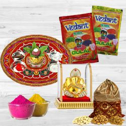 Holi Grand Combo Pack of Herbal Gulal, Puja Thali, Dry Fruit Potli N Ganesh Mandap to Ahmedabad